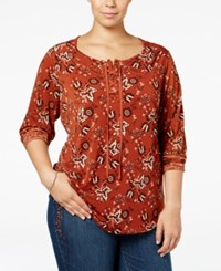 Styleandco. Style Co. Plus Size Lace Up Printed Top Only At Macy's Medallion Tiles