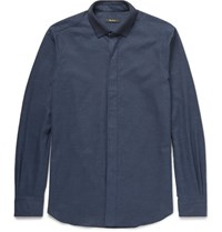 Berluti Knitted Collar Cotton Hirt Blue
