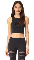 Solow Incise Crop Top Black