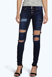 Boohoo Low Rise Rip Patch Distessed Skinny Jeans Dark Blue