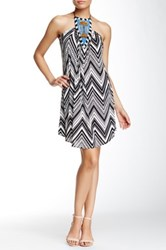 Tbags Halter Neck Beaded Front Printed Dress Multi