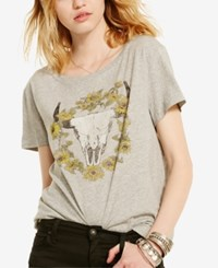 Denim And Supply Ralph Lauren Drapey Graphic Print T Shirt Gray