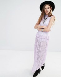Rokoko High Neck Sleeveless Maxi Dress In Lace Lavender Purple