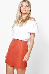 Boohoo Scalloped Hem Woven A Line Skirt Rust
