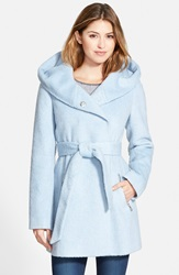 Guess Hooded Shawl Collar Wrap Coat Online Only Pastel Blue
