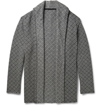 The Elder Statesman Geometric Woven Cashmere Cardigan Gray