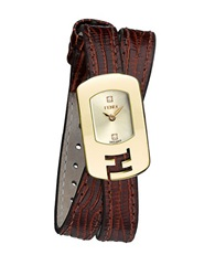Fendi Ladies Goldtone Chameleon Watch With Double Wrap Strap Brown