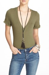 Free People Women's 'Me Oh My' Bodysuit Olive