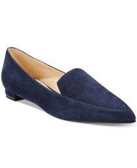 Nine West Abay Pointed Toe Flats Women's Shoes Navy Suede
