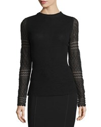 Elie Tahari Theresa Long Crochet Sleeve Merino Sweater Black
