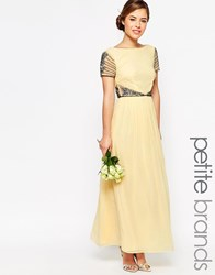 Maya Petite Cap Sleeve Maxi Dress With Embellished Waist Detail Lemon Yellow