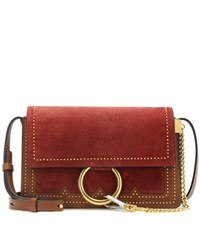 Chloe Faye Small Suede And Leather Crossbody Bag Brown