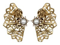 Oscar De La Renta Pearl Filigree Button C Earrings Light Gold