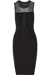 Line Open Knit Paneled Bandage Dress Black