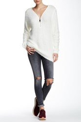 Simply Couture Fuzzy Knit Zip Sweater White