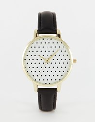 Asos Polka Dot Dial Detail Watch Black