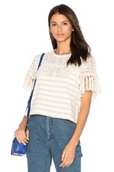 See By Chloe Short Sleeve Fringe Top White