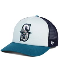 '47 Brand Women's Seattle Mariners Glimmer Captain Snapback Cap White Navy Teal