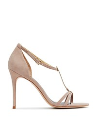 Reiss Ariana Metal T Bar Open Toe Sandals Beige