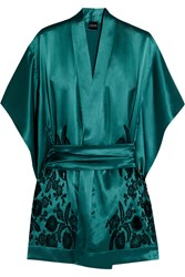 Carine Gilson Florence Lace Paneled Silk Satin Robe Blue