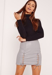 Missguided Eyelet Lace Up Faux Leather Mini Skirt Grey