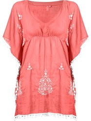 Sub V Neck Embroidered Kaftan Pink And Purple