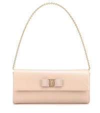 Salvatore Ferragamo Ginny Leather Clutch Beige