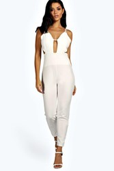 Boohoo Sarah Plunge Neck Cut Out Jumpsuit Ivory