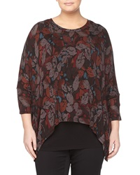 Chelsea And Theodore Leaf Print Dolman Sleeve Tunic Wine Multi