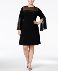 Msk Plus Size Bell Sleeve Illusion Dress Black