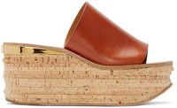Chloe Tan Leather And Cork Sandals