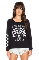 Lauren Moshi Brenna Moshi Racing Sweatshirt Black