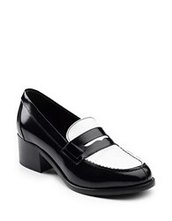 G.H. Bass Gretchen Colorblocked Heeled Loafers Black White