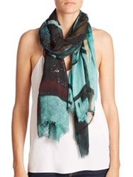 Yigal Azrouel Antelope Modal And Cashmere Scarf Green Multi