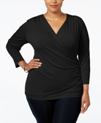 Charter Club Plus Size Faux Wrap Top Only At Macy's Deep Black