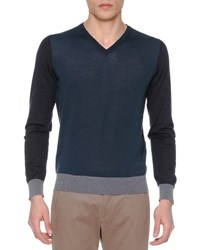 Giorgio Armani Colorblock V Neck Sweater Slate Gray