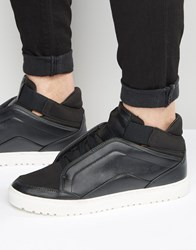 Asos Mid Top Trainers In Black With Concealed Laces Black