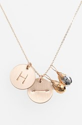 Women's Nashelle Pyrite Initial And Arrow 14K Gold Fill Disc Necklace Gold Pyrite Silver Pyrite H
