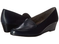 Aerosoles Lovely Dark Blue Leather Women's Flat Shoes Navy