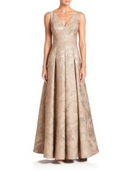 Aidan Mattox Pleated Floral Gown Gold