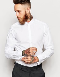 Asos Tux Shirt With Cutaway Collar And Double Cuff White