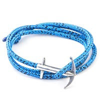 Anchor And Crew Admiral Rope And Silver Bracelet Blue Noir