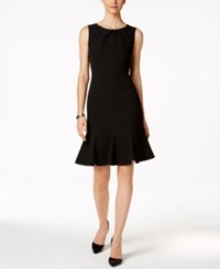 Kasper Crepe Flare Hem Sheath Dress Black