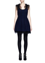 Valentino Virgin Wool Cashmere Cable Knit Flare Tulle Dress Blue