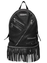 Dsquared Punk Studded And Fringed Leather Backpack