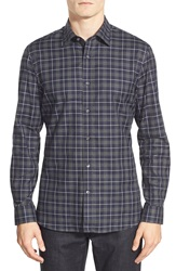 Kent And Curwen Kent And Curwen Trim Fit Long Sleeve Plaid Twill Sport Shirt Navy Charcoal