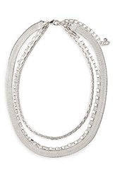 Nordstrom Women's Triple Chain Collar Necklace Rhodium
