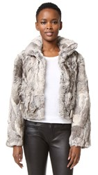 Adrienne Landau Textured Rabbit Jacket Plucked Natural