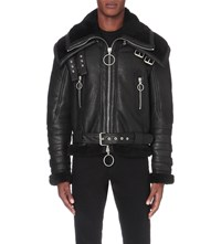 Off White C O Virgil Abloh Double Collar Shearling Leather Jacket Black