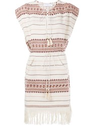 Zimmermann Fringed Hem Poncho Dress Nude And Neutrals
